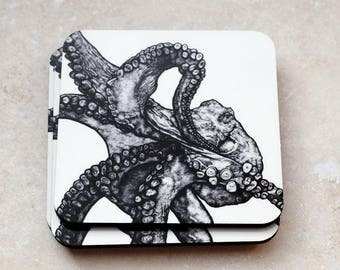 Illustrated Octopus Pack of 4 Coasters