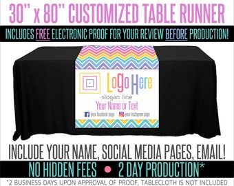 "Full Color Table Runner with Your Logo in a Chevron Style Background - 30"" x 80"""