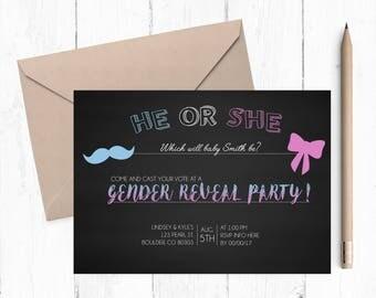 Custom Printable Baby Gender Reveal   Digital Download   He or She   Custom Baby Reveal Invite