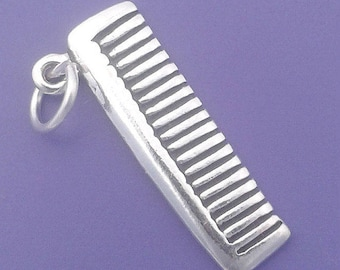 HAIR COMB Charm, Hair Stylist .925 Sterling Silver Charm Pendant - lp1217