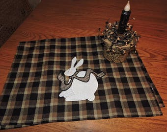 """Homespun Plaid Towel in Brown and Black with an Appliqued Country Bunny   19"""" x 28"""""""