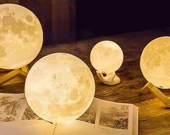 LUNA MOON LAMP - Large 14/15cm - 3d printed Moon Lamp - rechargable lamp - led Light - Moon Light - Handmade Lamp - Space - Constellation