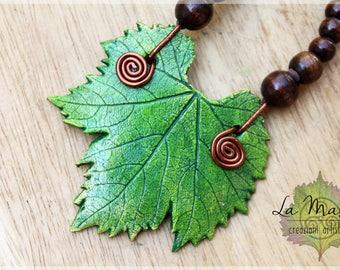 Leaf necklace // Big green leaf // Real leaf necklace Elves Fantasy necklace // Hippie Natural necklace