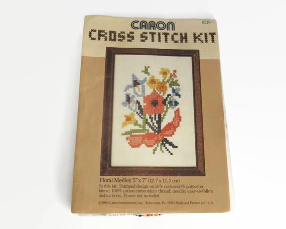 Cross Stitch needlework kit, bunch of flowers in multi colors, embroidered section is 4 x 5.5 inches / 10 x 14cms, dead stock, circa 1980s