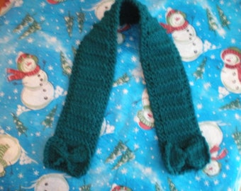 Girl's Teal Handknit Scarf, Girl's Knit Scarf, Girl's Teal Scarf, Toddler Scarf, Teal Handknit Scarf, Girl's Handknit Scarf