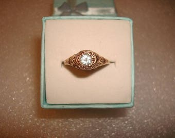 Diamond Cut Genuine Aquamarine 14k Rose Gold Sterling Silver Open Filigree Ring Size 6.25