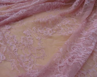 Chantilly lace fabric sold by yard,Dusty rose lace fabric,wedding Lace trim,150cm Eyelash lace for lace dress