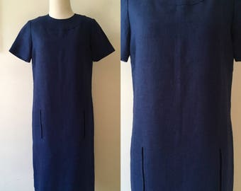 S/M 1960s Navy Blue Linen Shift Dress