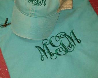 Monogrammed Trucker Hat and Cinch Sak