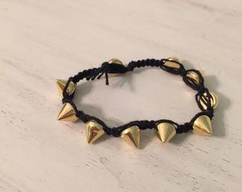 Black and Gold Stud Bracelet
