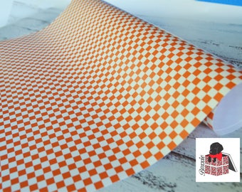 Orange checkerboard wrapping paper sheets birthday gift wrap GW2400