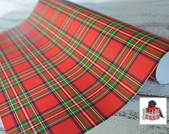Red and green royal stewart tartan plaid wrapping paper sheets Christmas gift wrap GW1815