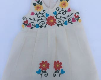 Mexican Baby Dress with Floral Design Embroidery from Yucatan Mexico