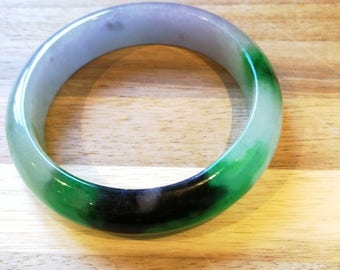 "Jadeite bangle icy ""翡翠""  grade A  imperial green / black round"