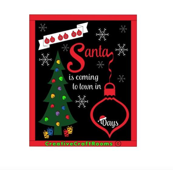 Christmas Countdown Sign, Christmas Countdown Chalkboard, Days Until Christmas Sign, Christmas Sign, Framed Santa Chalkboard, Ho Ho, Ho