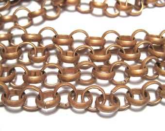 5 ft Red Copper ROLO Chain Links-Opened 7mm Iron Chain Links-Opened  ( NO. 105Y)