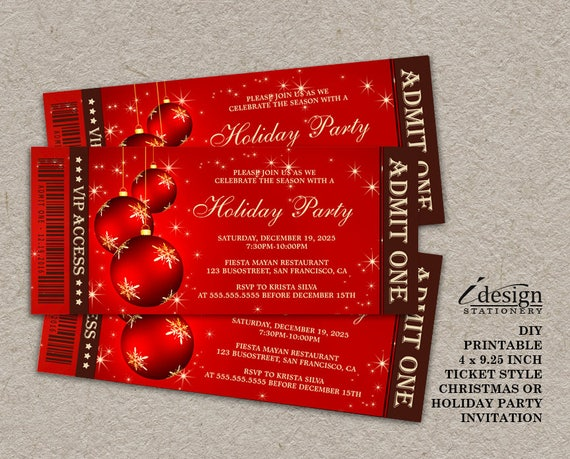 holiday party ticket invitations elegant red and gold ticket