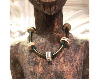 GILDED-MANE : Necklace features RARE Vintage Shark Vertebrae Discs Inlaid with Turquoise & Coral