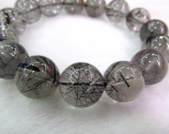 8-20mm Genuine Rutilated Quartz Bracelet A+ Grade, Natural Rutilated Quartz Beads, white black rutilated charm  Bracelet 8inch  for gift