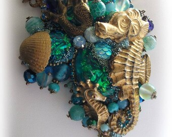 Seahorse necklace, Mermaid, Ocean, Sea, Tales and legends, Strass, Lalique, Sea shell, Necklace ocean,Mermaid Necklace,fairy,corals,Oceanic