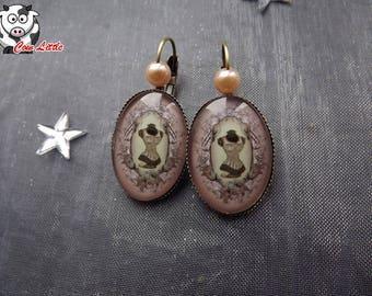 Bronze earring sleeper orange/cream corset glass cabochon