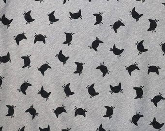 Fabric - Cotton sweatshirt jersey fabric - grey marl cat print