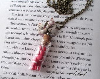 bronze macarons vial necklace coral red