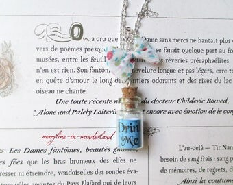 "Blue ""Drink Me"" bottle vial necklace"
