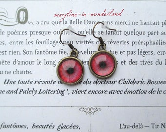 bronze look Cabochon eyes earrings Red