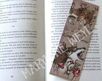 Bookmark Wolf werewolf red mushroom