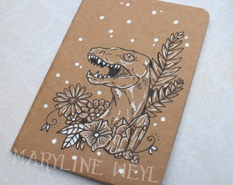 "Sketchbook - Notebook Kraft ""Velociraptor and flowers"" dinosaur"