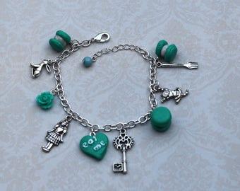 "charm bracelet ""Alice in Wonderland in"" Mint turquoise"