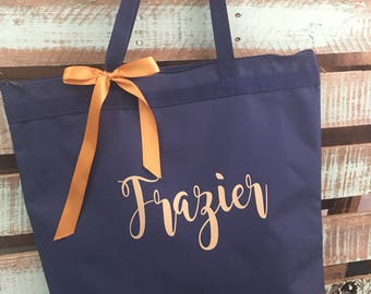Bridesmaid tote / bridesmaid gift / personalized tote / monogrammed tote / wedding tote / bride tote /