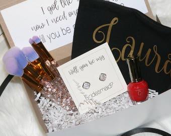 bridesmaid proposal box, proposal gift, bridesmaid proposal, bridesmaid gift, cosmetic case, bridesmaid earrings, unicorn make up brush set