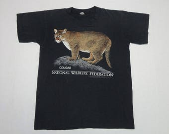 National Wildlife Federation Cougar T-Shirt Vintage 1990 L 14-16 Thin