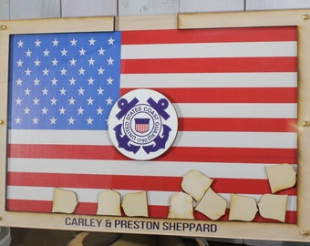 Personalized Guest Book/Flag/Air Force/Navy/Patriotic/Coast Guard/Military/Retirement/Guest Book/Wood Shape/Alternative/Shield