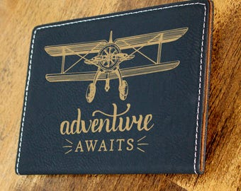 Passport Holder/Passport Cover/Adventure Awaits/Plane/Airplane/Leatherette/Personalized/Business Logo/Engraved/Color Choices