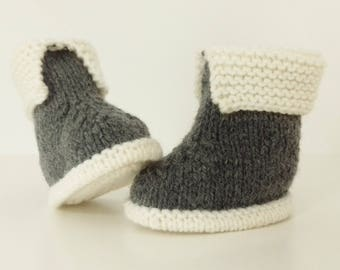 Let us put on bootees babies birth in 12 ecru and grey woolen hand-knitted months