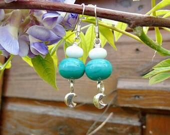 Turquoise lampwork & moon sterling silver earrings