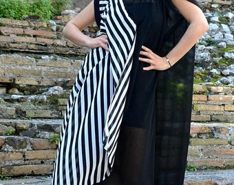 SUN SALE 25% OFF Extravagant Striped Summer Kaftan Tdk253, Long Striped Black and White Maxi Dress, Asymmetrical Black and White Kaftan