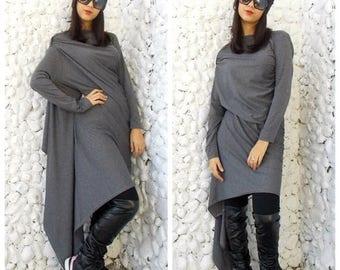 SALE 25% OFF Asymmetric Dress / Long Extravagant Dress/ Grey Asymmetric Tunic / Loose Asymmetric Tunic Dress TDK08