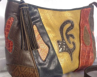 Vintage 80's Sharif USA Couture Patchwork Multi colours Leather Crossbody Bag with Leather Tassel.