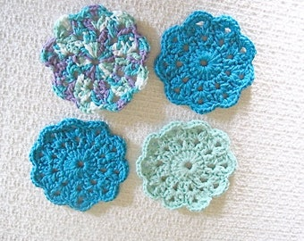 Crocheted Cotton Coaster Set,  Blue Green  and multi colored coasters, gift for her, Housewarming or Bridal Shower gift