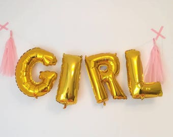 Gold balloons GIRL it's a girl banner birth announcement baby girl baybyshower mylar 40 cm