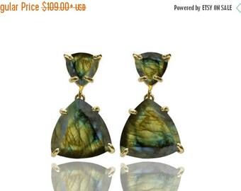 SUMMER SALE -  Labradorite earrings,triangle earrings,triangular earrings,gold earrings,statement earrings,gemstone earrings