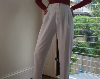 80s high waisted white tailored pants