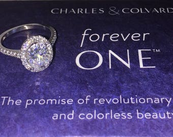 Oval Forever One Moissanite Engagement Ring 1.50ct Oval Ring .27ct Natural Diamond Halo Ring White Gold Ring  Pristine Custom Rings