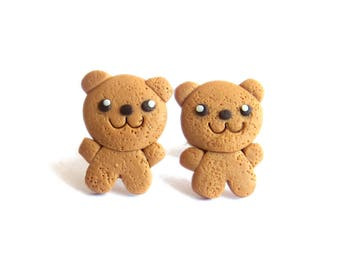 Teddy Bear Earrings, Food Jewelry, Food Earrings, Girls Jewelry, Gifts For Kids, Teddy Bear Cookies Earrings, Toy Earrings, Brown Earrings,