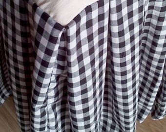 Black and White Gingham Check Bed Skirt - Checked Bed Valance - Country Bedskirt - Plaid Dust Ruffle  - Bedskirt  - King Size