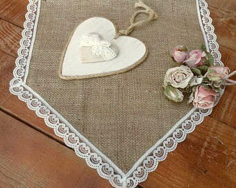 Burlap Runner with Lace - Rustic Table Runner with Lace - Table Decor - Wedding Runner with Lace - Wedding Runner - Choose Length